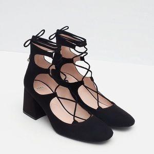 Zara lace up block heel almond toe black 38